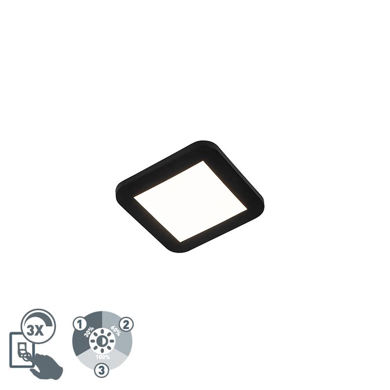 Lampa sufitowa czarna z 3-stopniowym ściemnianiem LED IP44 - Steve
