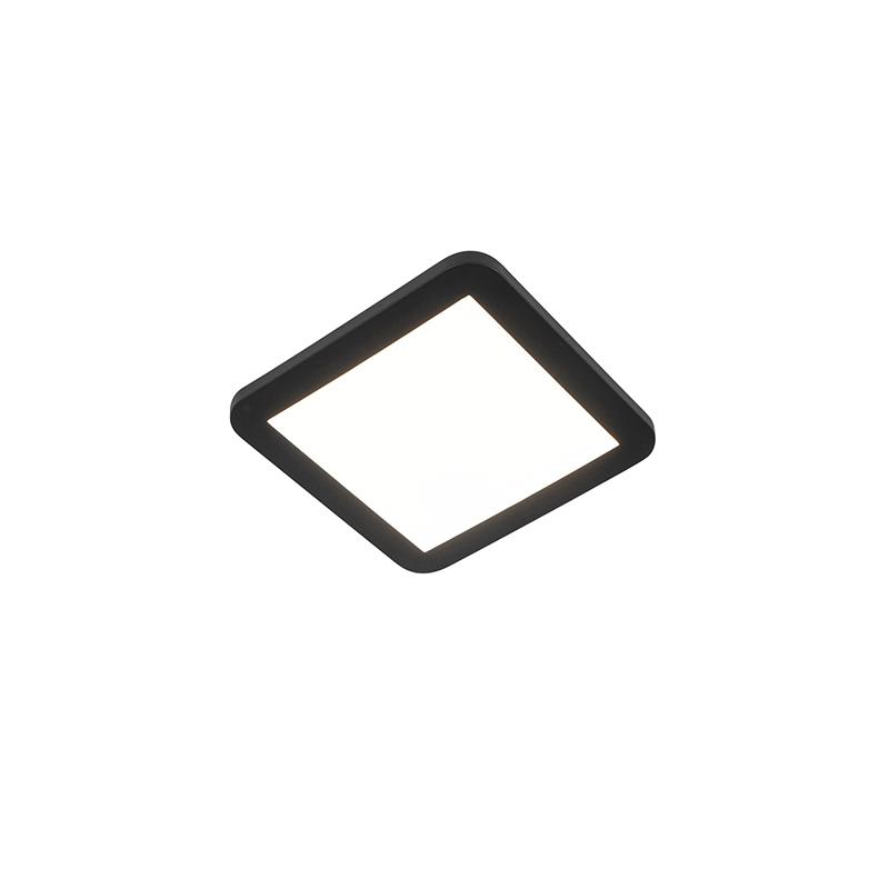 Plafonnière zwart 22,5 cm incl. LED 3-staps dimbaar IP44 - Steve