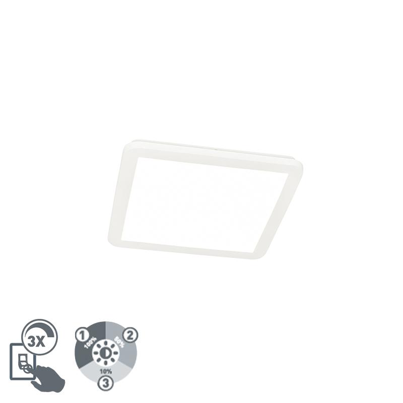 Moderne plaffoni�re wit vierkant 30 cm incl. LED - Steve