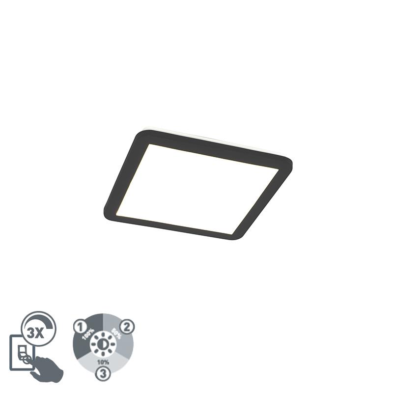 Moderne plaffoni�re zwart vierkant 30 cm incl. LED - Steve