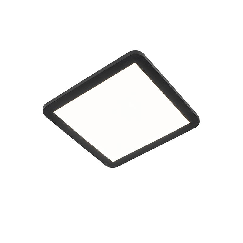 Plafonnière zwart 30 cm incl. LED 3-staps dimbaar IP44 - Steve