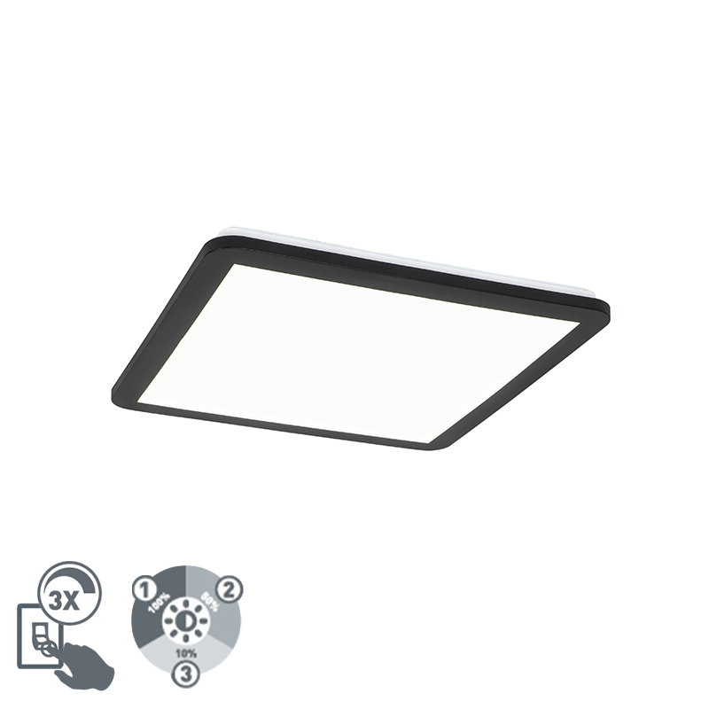 Plafonnière zwart 40 cm incl. LED 3-staps dimbaar IP44 - Steve
