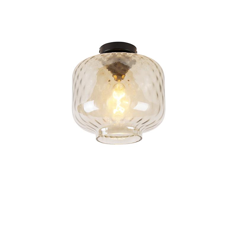 Art Deco plafondlamp zwart met amber glas - Collo