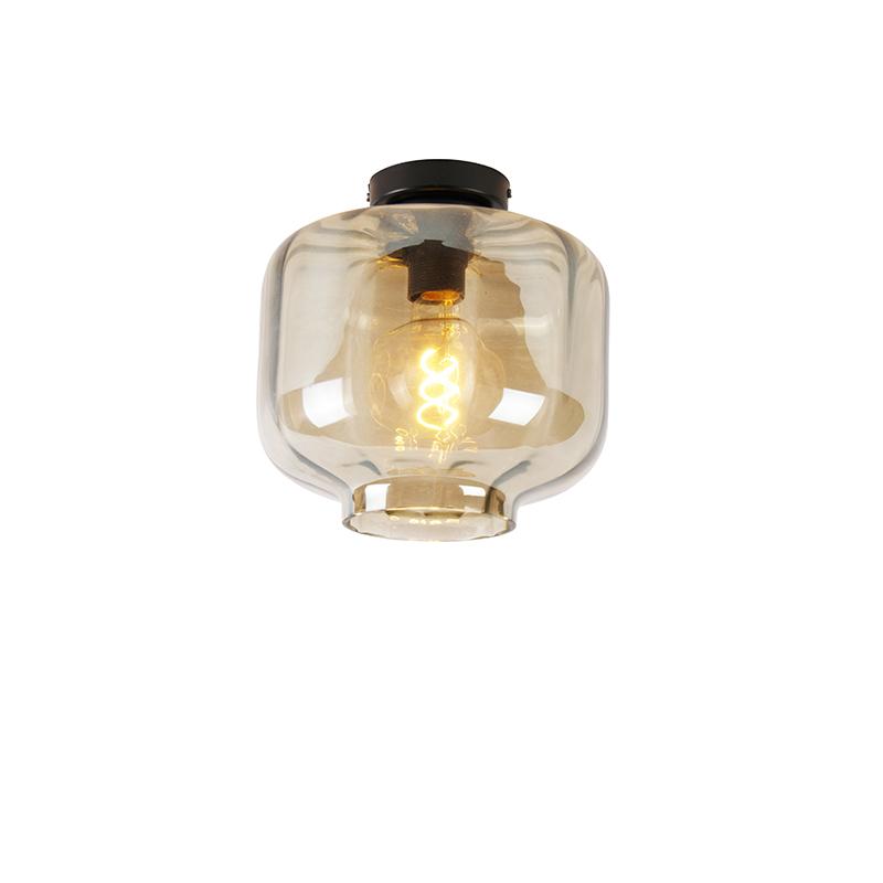 Art Deco plafondlamp zwart 25 cm met amber glas - Collo