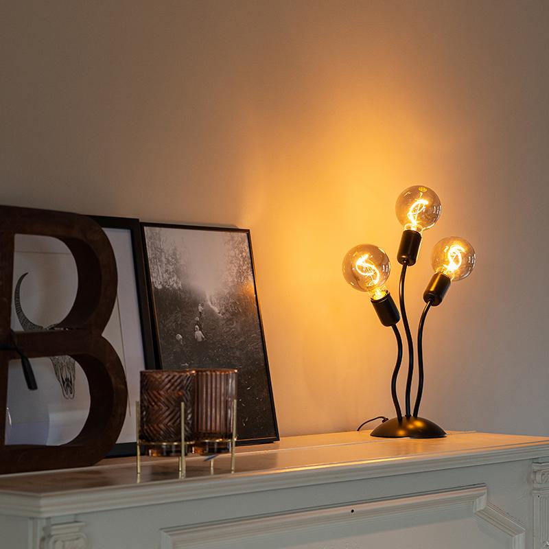 Design tafellamp zwart 3-lichts - Wimme