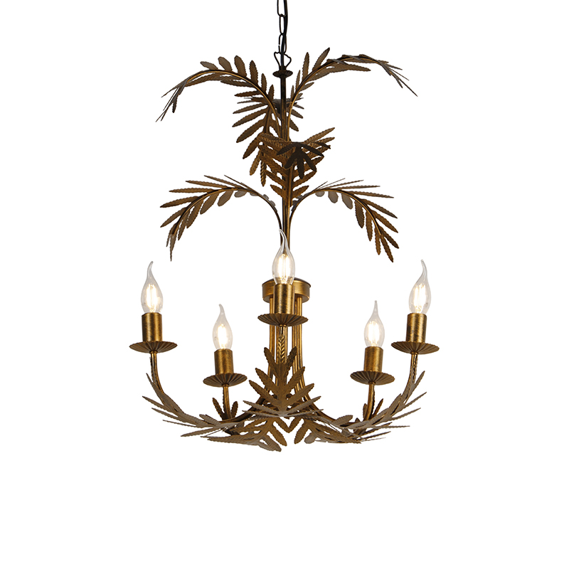 Vintage kroonluchter goud 5-lichts zonder kap - Botanica