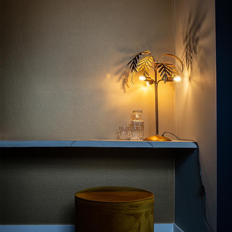 Art Deco tafellamp goud 3-lichts - Botanica