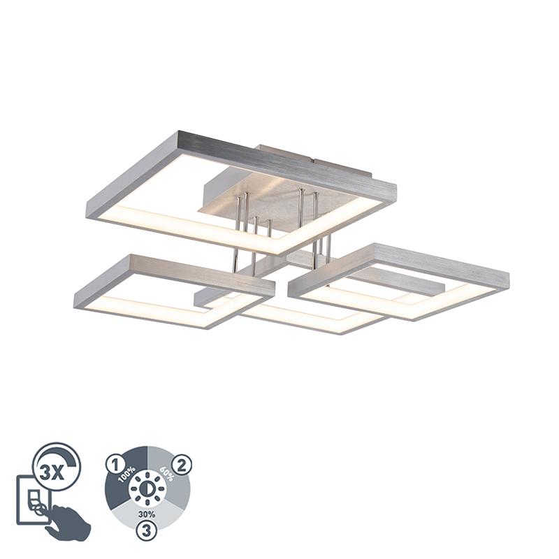 Plafonnière aluminium 4-lichts incl. LED dimbaar - Lejo