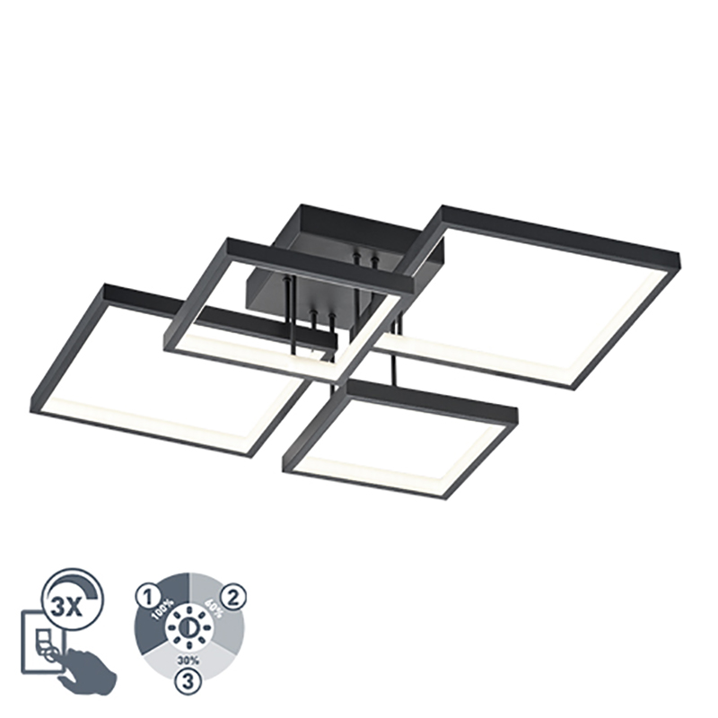 Plafon czarny 4-źródła światła LED 3-stopniowe ściemnianie - Lejo