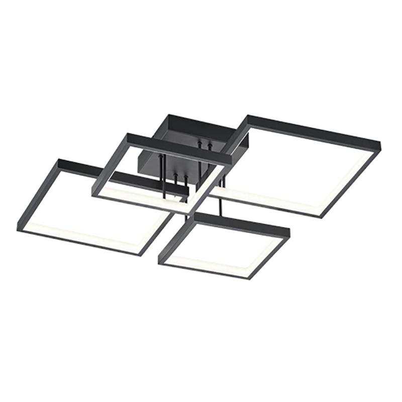 Plafonnière zwart 4-lichts incl. LED dimbaar - Lejo