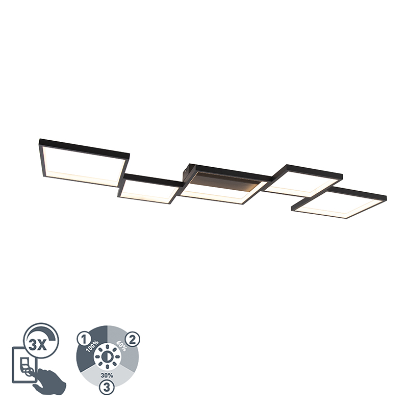 Plafonniere zwart 5-lichts incl. LED 3 staps dimbaar - Lejo