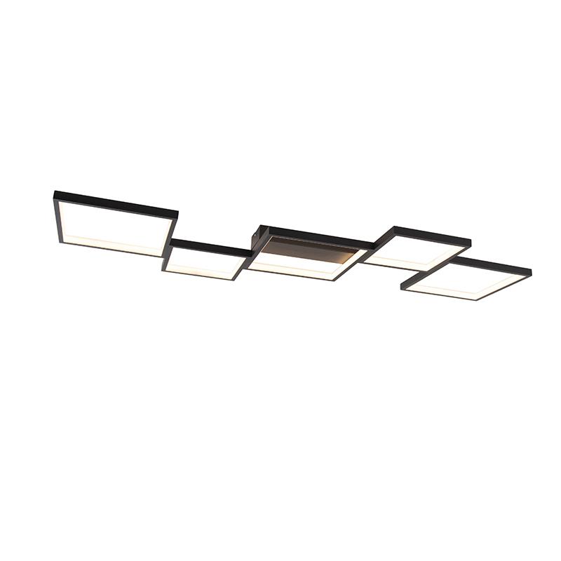 Plafonnière zwart 5-lichts incl. LED dimbaar - Lejo