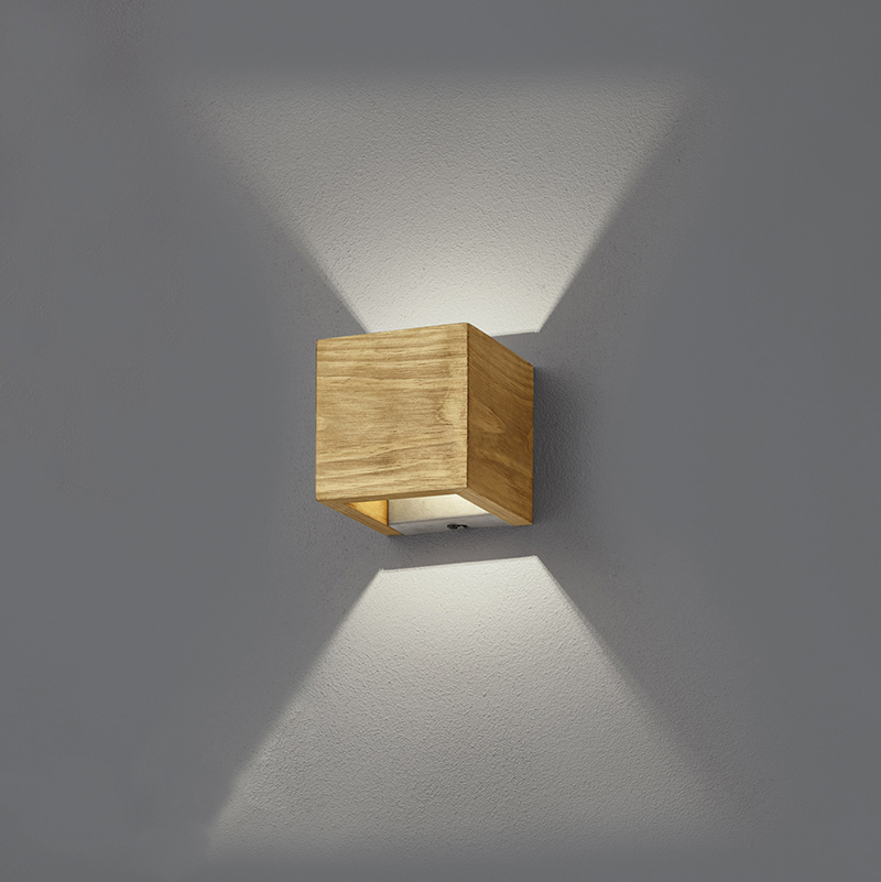 Landelijke wandlamp hout 11 cm incl. LED dimbaar - Linc
