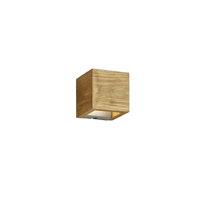 Landelijke wandlamp hout 12,5 cm incl. LED 3-staps dimbaar - Linc
