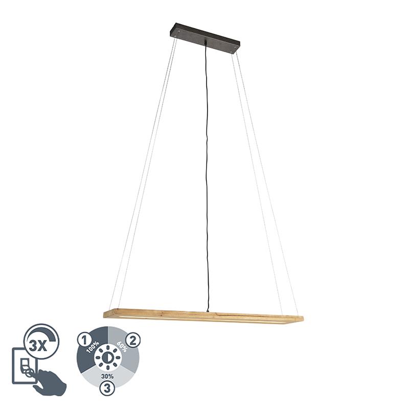 Wiejska lampa wisząca z drewna, z 3-stopniowym ściemnianiem LED - Linc