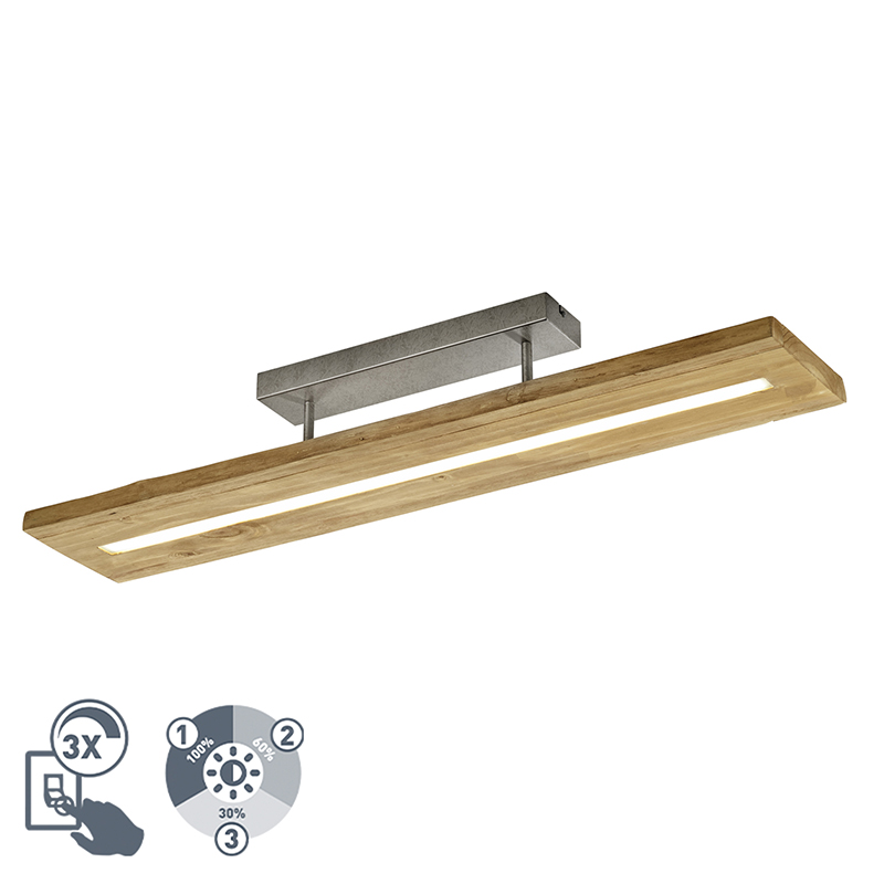 Landelijke plafondlamp hout incl. LED 3-staps dimbaar - Linc