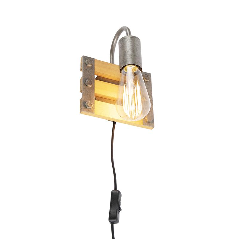 Industriële wandlamp staal met hout - Paleta