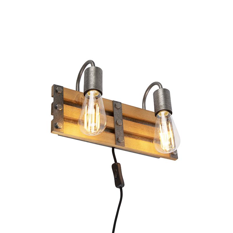 Industriele wandlamp antiek staal met hout 2-lichts - Paleta