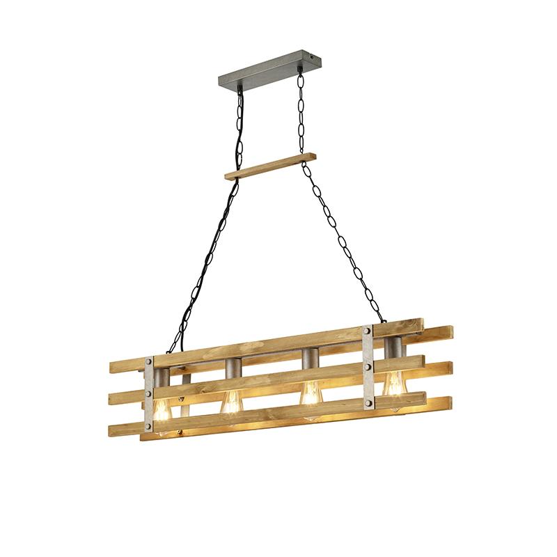 Przemysłowa lampa wisząca stal z drewnem 4-lampa - Paleta