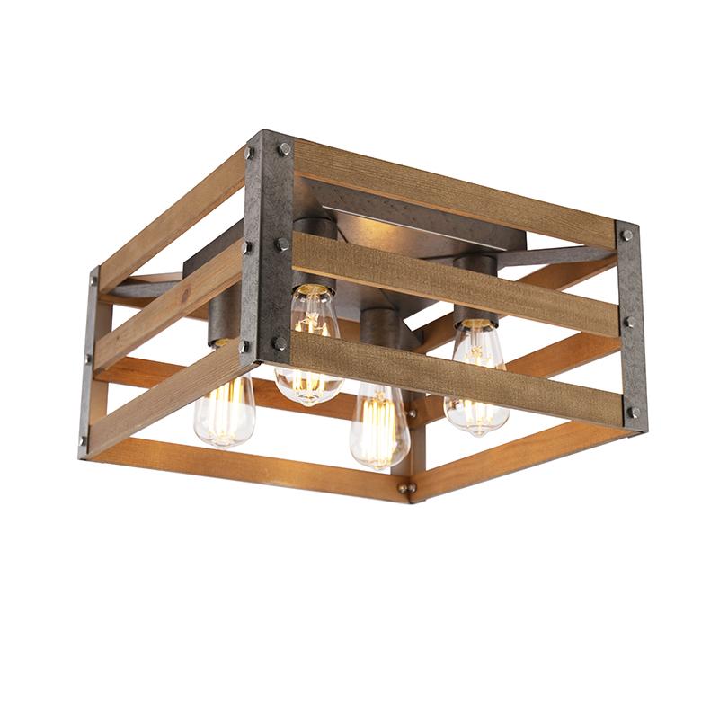 Industriele plafondlamp antiek staal met hout 4-lichts - Paleta