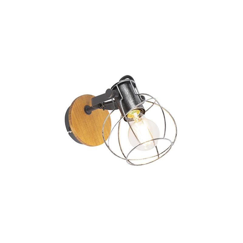 Industriële plafond- en wandspot staal met hout - Torce
