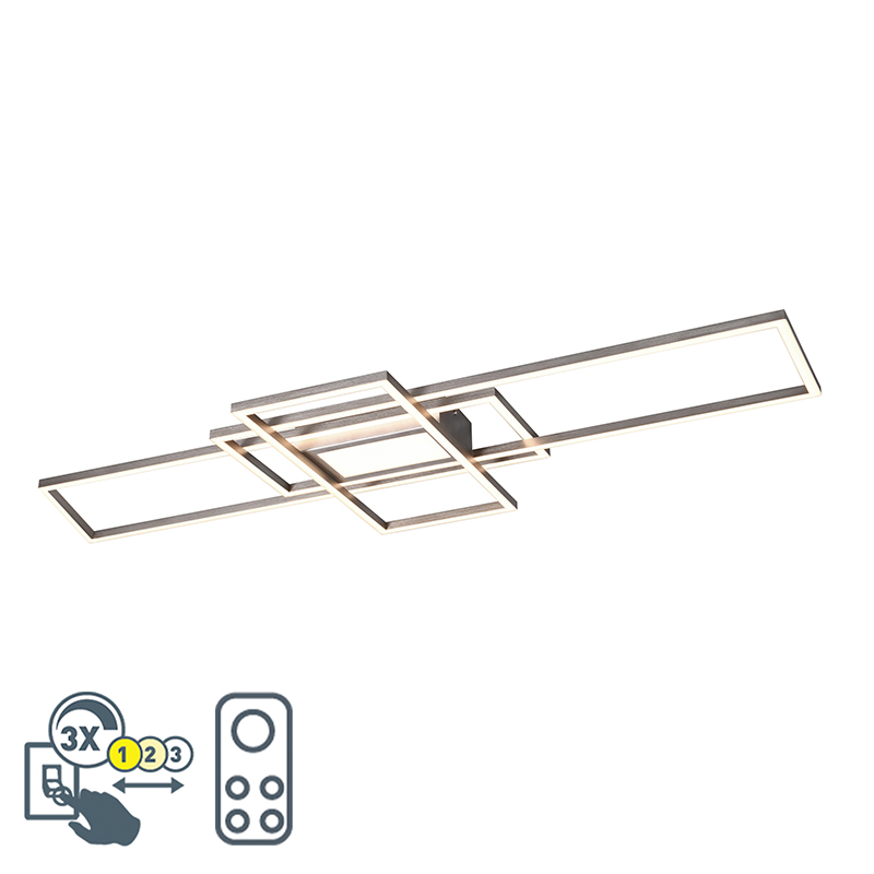 Plafonnière staal incl. LED, afstandsbediening 3 staps dimbaar - Riha