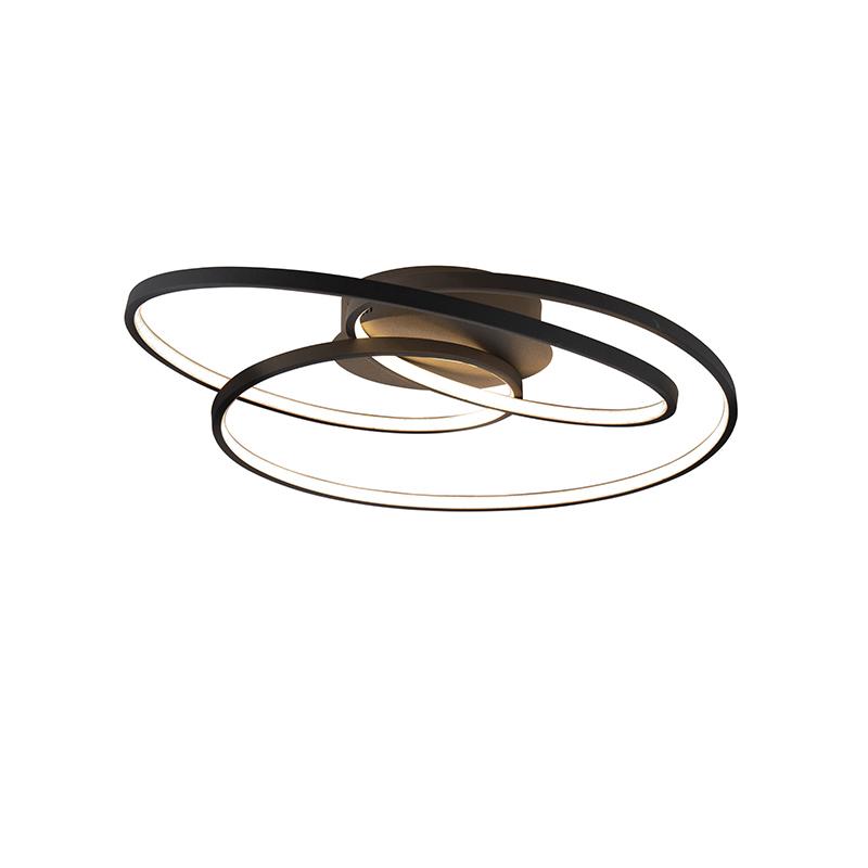 Plafonnière zwart 60 cm incl. LED 3 staps dimbaar Rowin