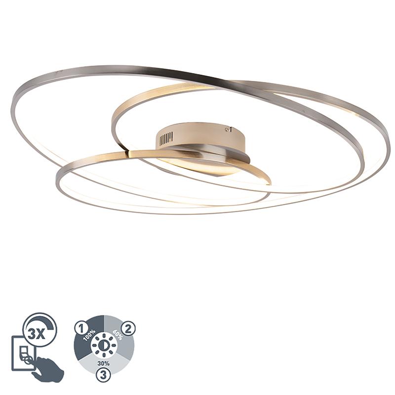 Designerski plafon stal 80cm 3-stopniowe ściemnianie LED - Rowin