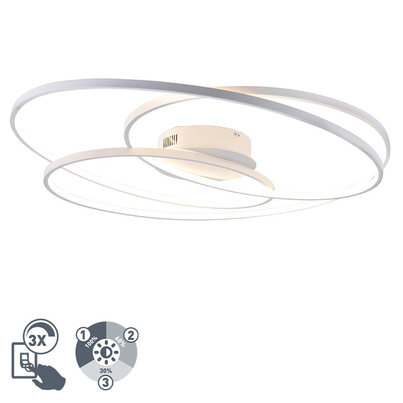 Designerski plafon biały 80cm 3-stopniowe ściemnianie LED - Rowin