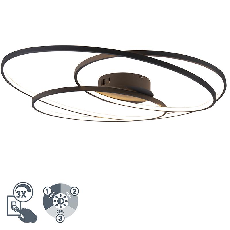 Designerski plafon czarny 80cm 3-stopniowe ściemnianie LED - Rowin