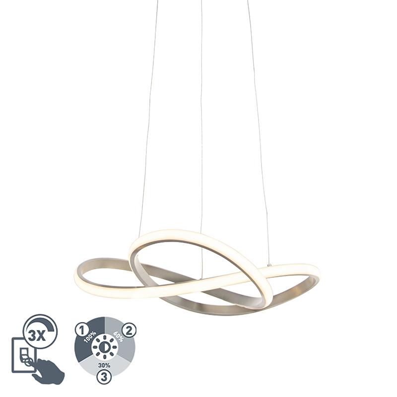 Design hanglamp staal incl. LED 3-staps dimbaar - Ruta