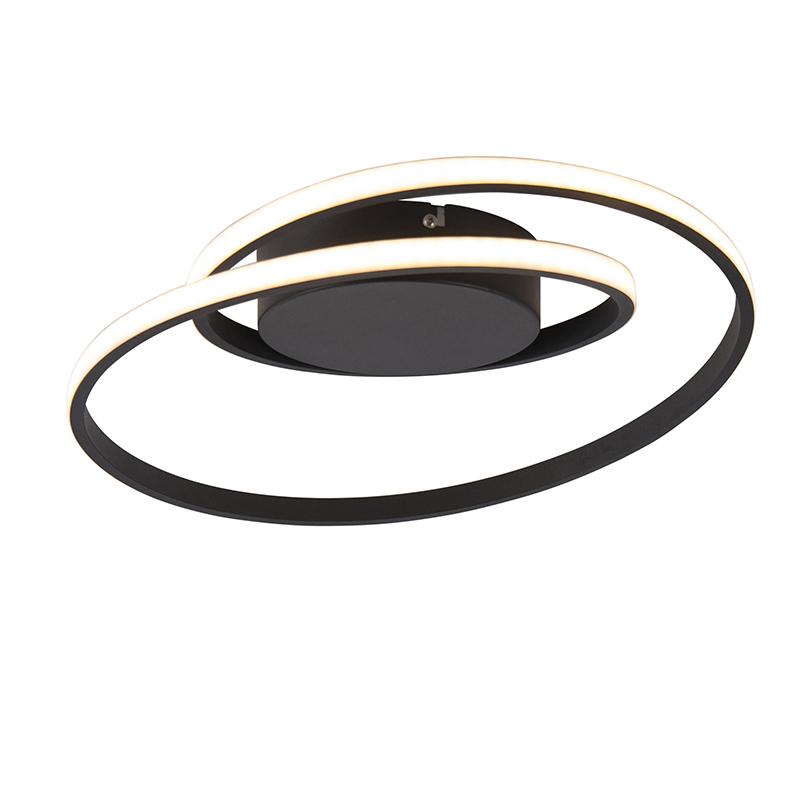 Design plafonnière zwart incl. LED 3-staps dimbaar - Krula