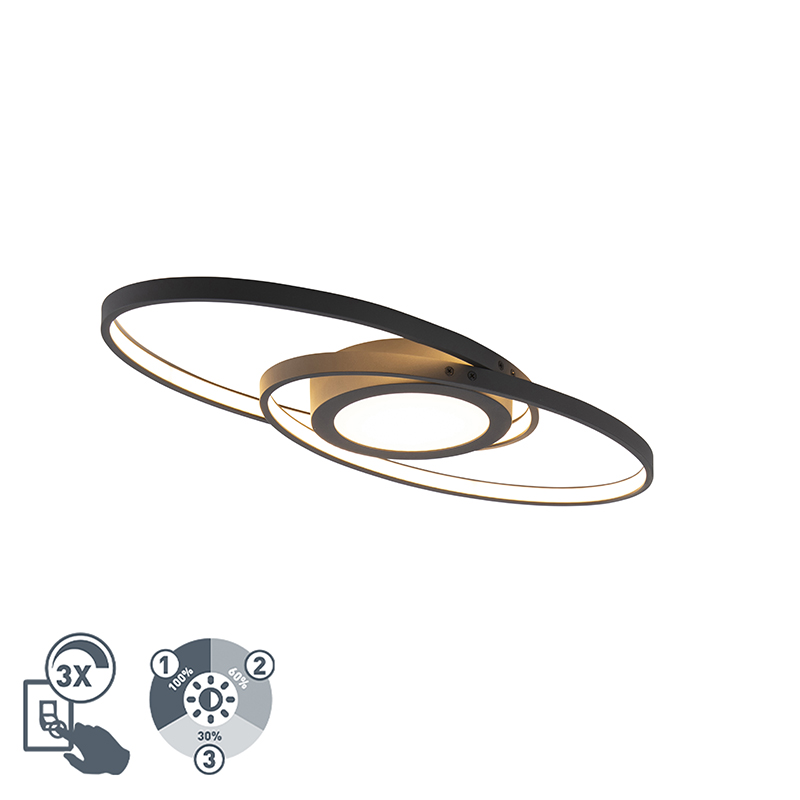 Design plafonnière antraciet incl. LED 3-staps dimbaar - Axy