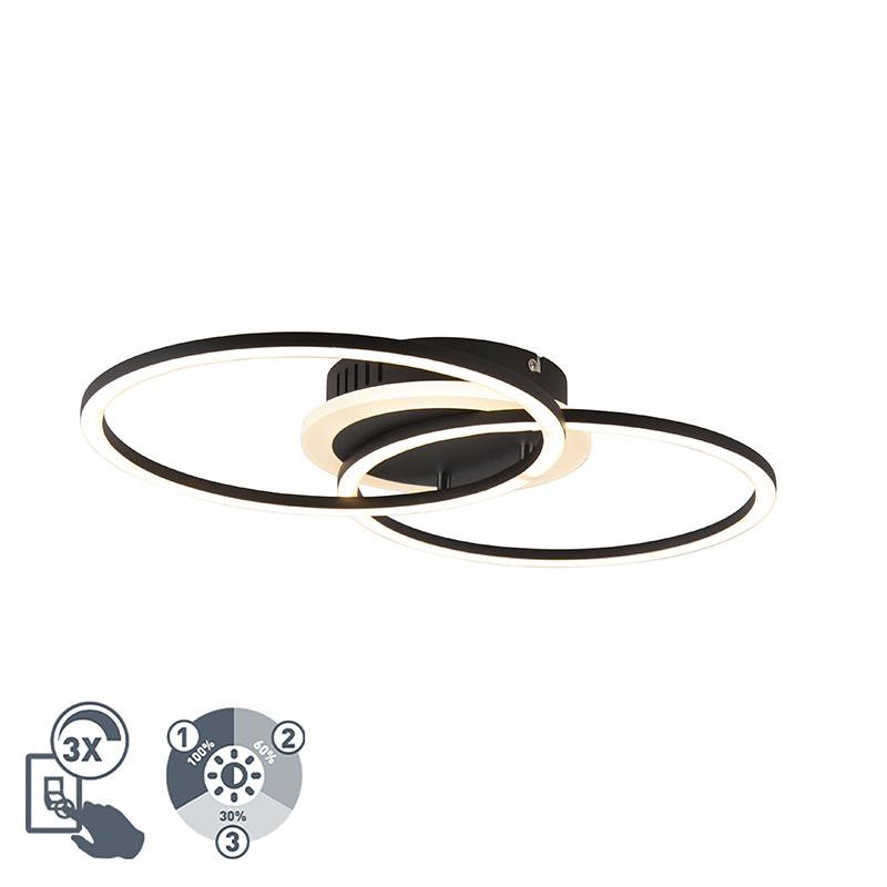 Design plafondlamp zwart incl. LED 3-staps dimbaar - Veni