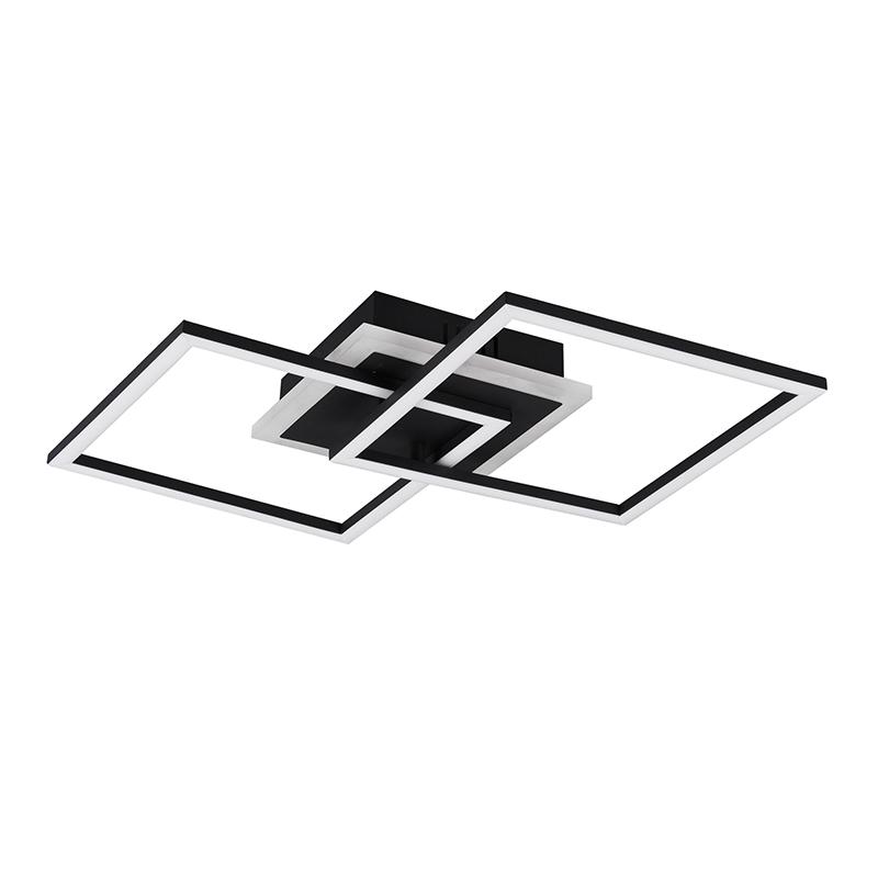 Designerski kwadratowy plafon LED czarny 3-stopniowe ściemnianie - Veni