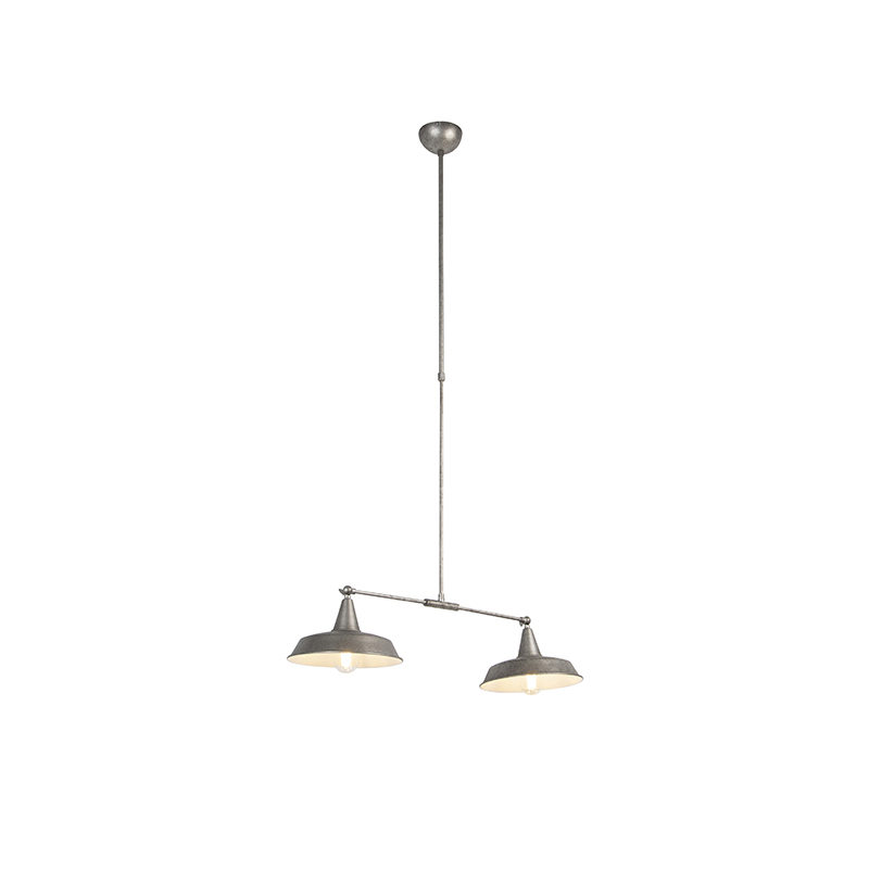 Przemysłowa lampa wisząca srebrna 2-punktowa regulowana - Vici