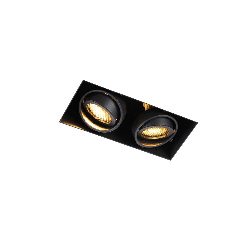 Oprawa do wbudowania czarna 2-świetlna obrotowa i uchylna Trimless - Oneon Honey