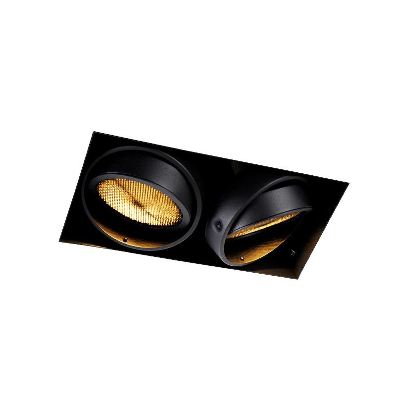 Inbouwspot zwart GU10 AR111 Trimless 2-lichts - Oneon Honey