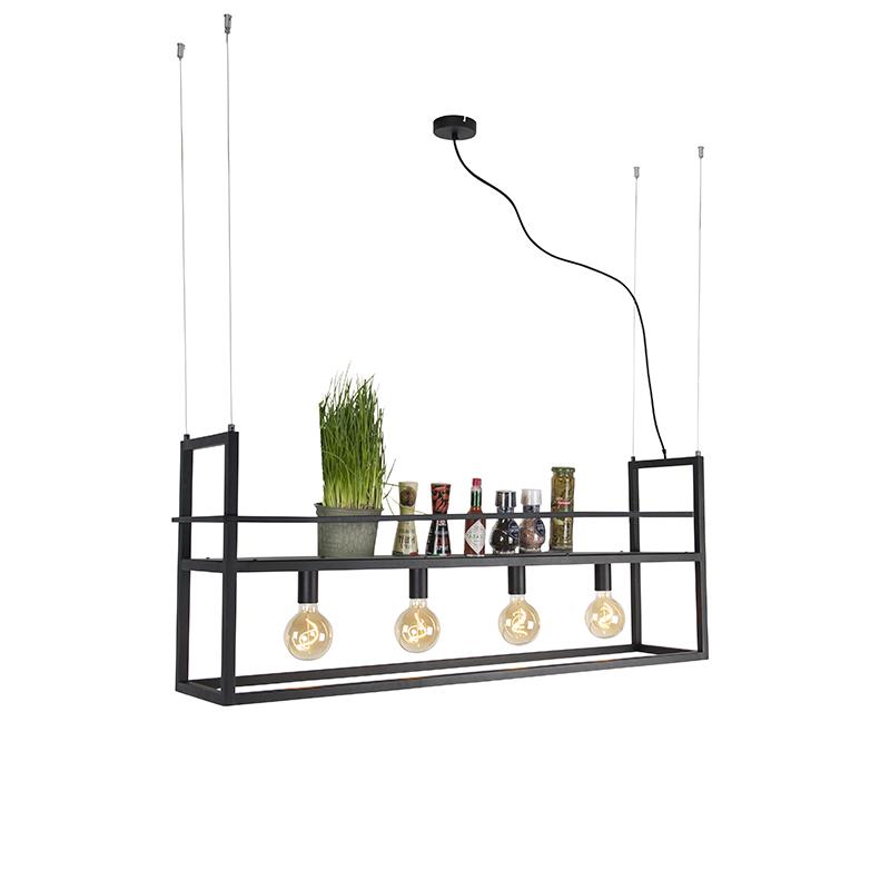 Industriële hanglamp zwart met rek Large 4-lichts - Cage Rack