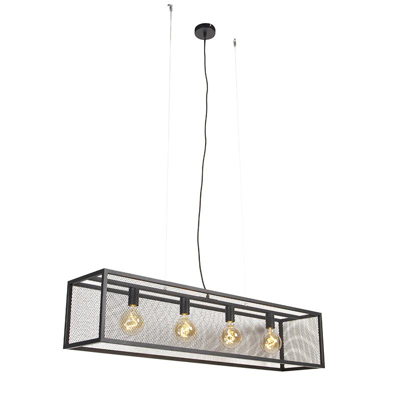 Industriële hanglamp zwart 118 cm 4-lichts - Cage Mesh