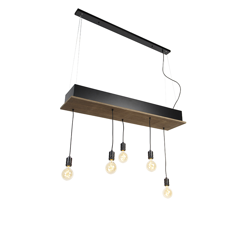 Landelijke hanglamp zwart met hout 5-lichts - Flair