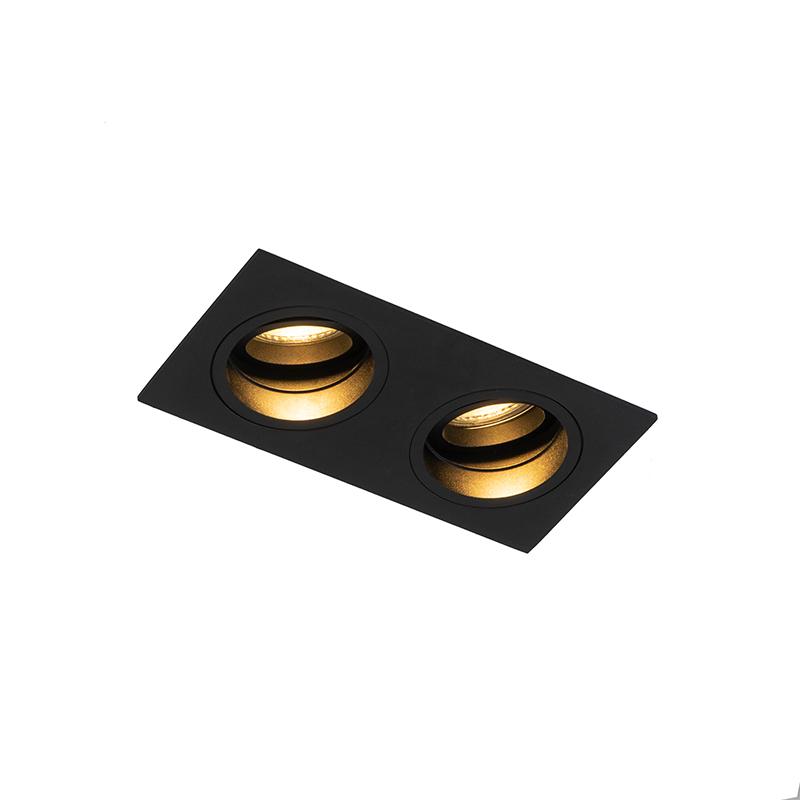 Vierkante inbouwspot zwart verstelbaar 2-lichts - Chuck