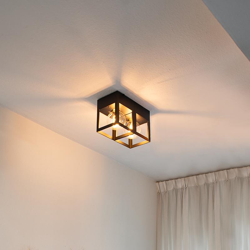 Moderne plafondlamp zwart 2-lichts - Cela
