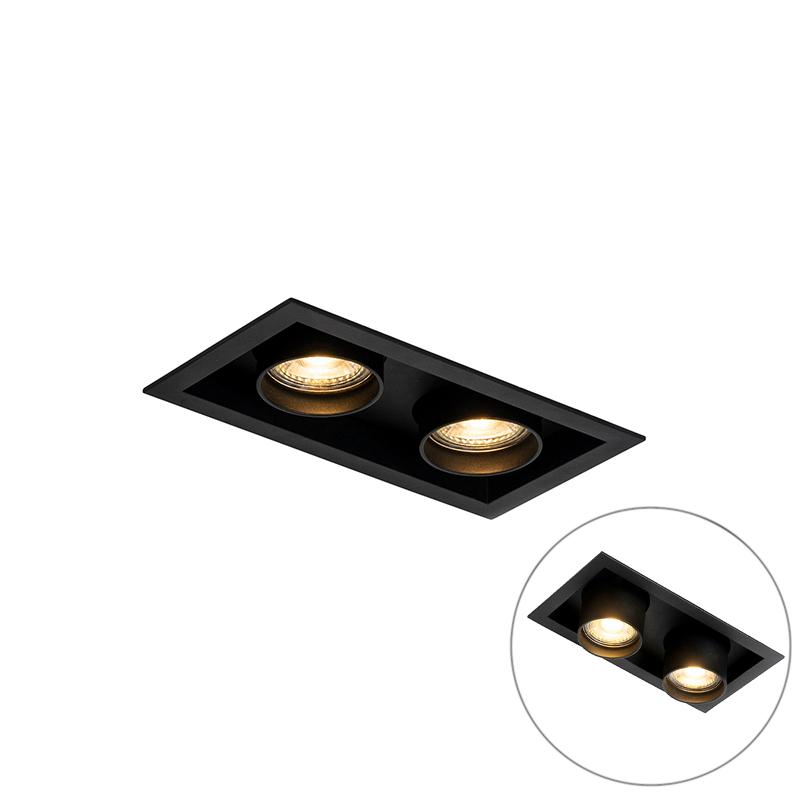 Moderne inbouwspot zwart verstelbaar 2-lichts - Roof