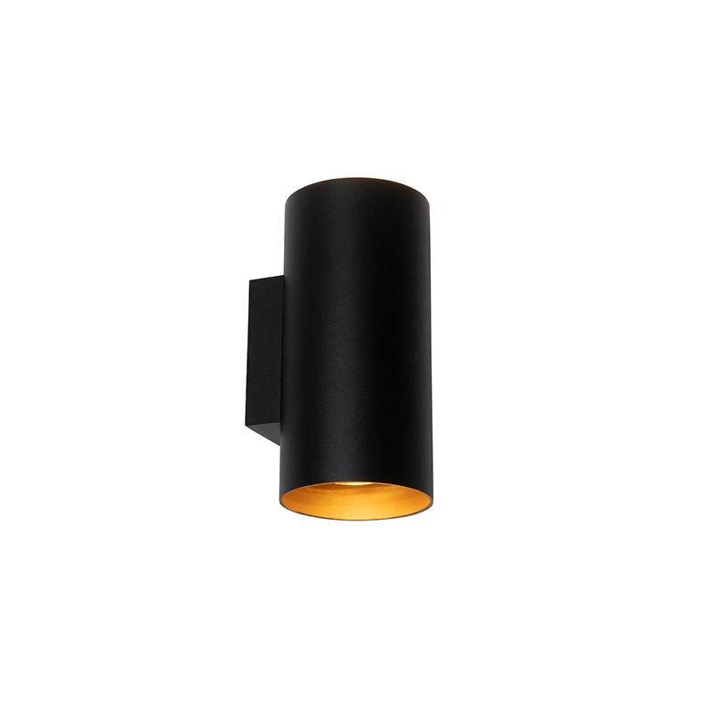 Design wandlamp zwart met goud - Sab