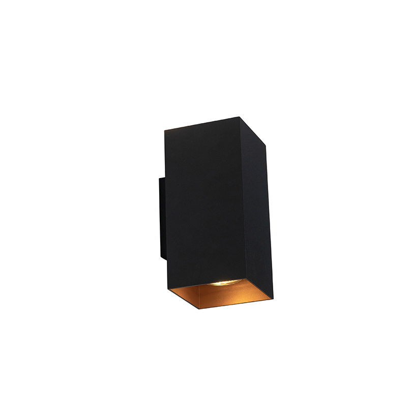 Design wandlamp zwart met goud vierkant - Sab