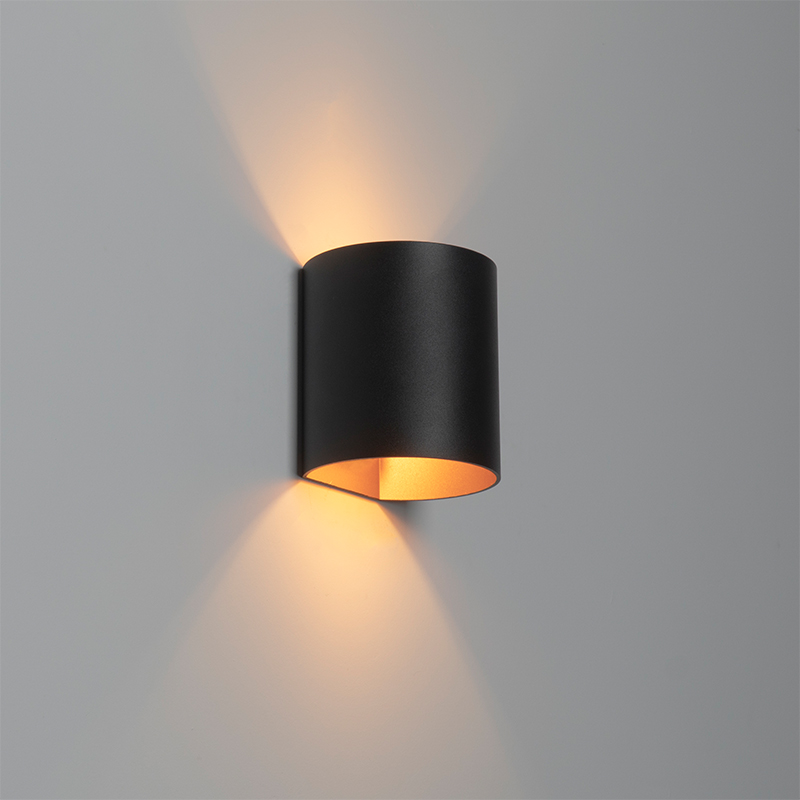 Moderne wandlamp zwart met gouden binnenkant - Sabbio
