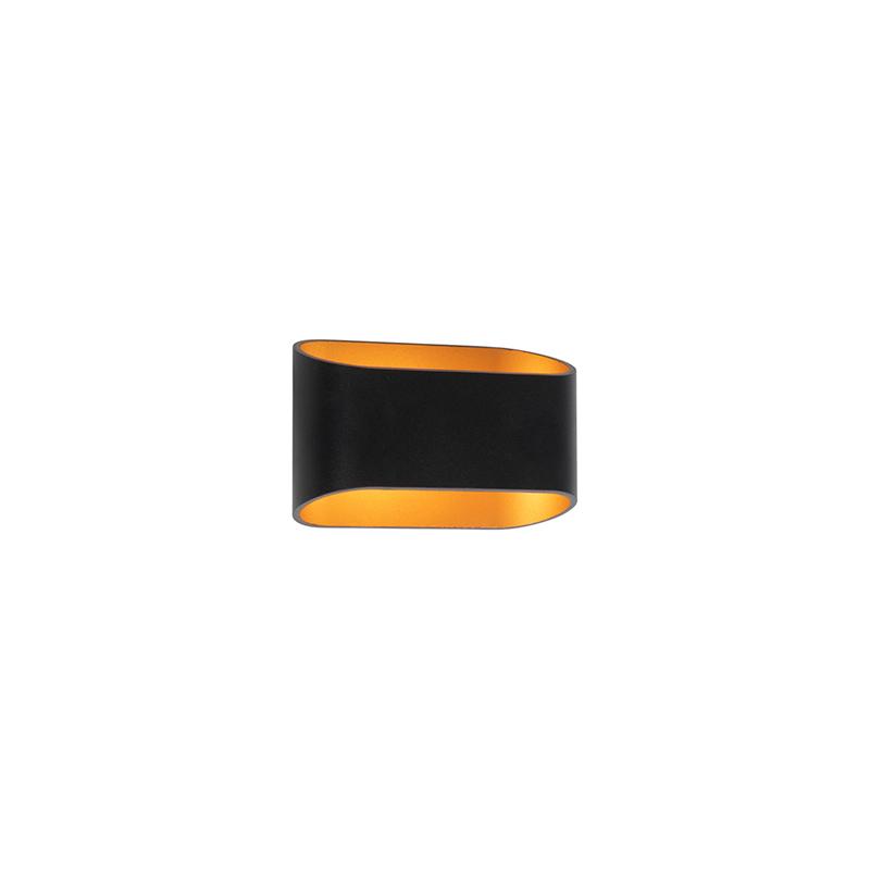 Moderne wandlamp zwart met gouden binnenkant - Alone R
