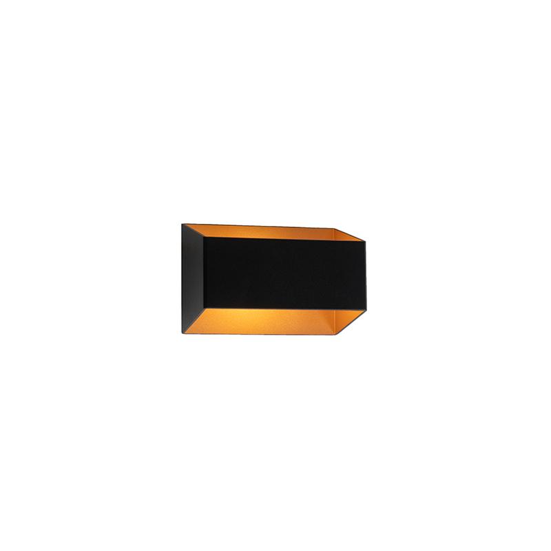 Moderne wandlamp zwart met gouden binnenkant - Alone S