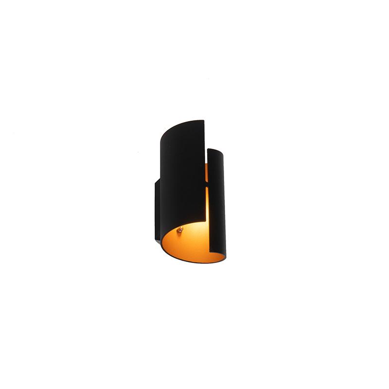 Design wandlamp zwart met goud - Faldo